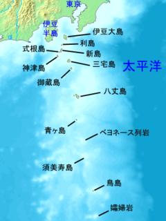 万次郎が漂着した鳥島付近の地図