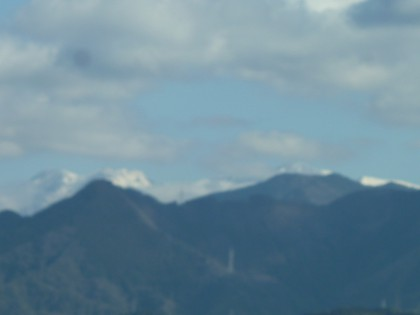 新雪を被った石鎚山の遠望