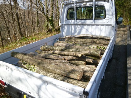 軽四トラックに積んだ原木