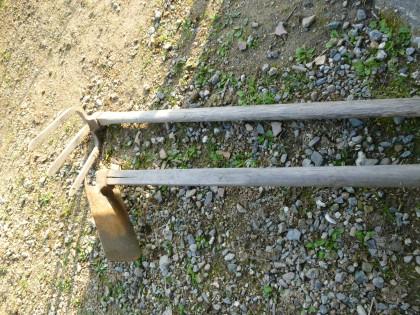 母の代から50年以上にわたって使っている平鍬と三つ鍬