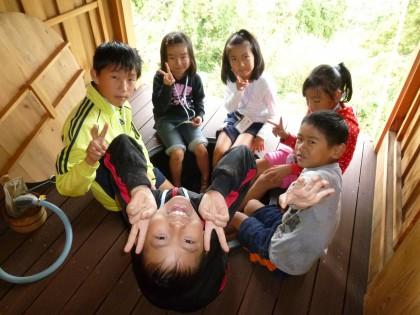 足湯のサービスに子どもたちも大満足