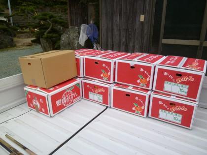 玄関先でデコポンの箱詰め作業